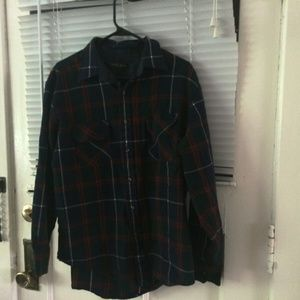 Green Plaid Northwest Territory Flannel Shirt Sz L
